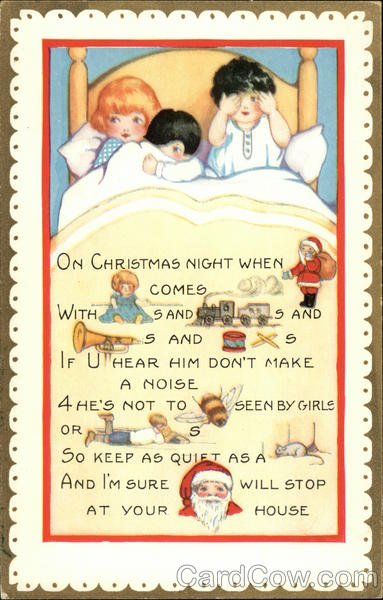 Children In Bed Rebus Poem Christmas Postcard