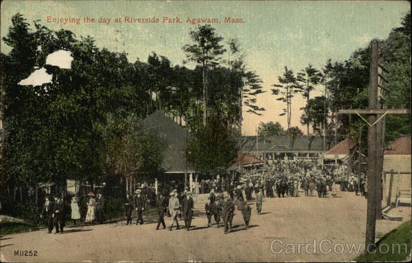 Enjoying The Day At Riverside Park Agawam MA Postcard