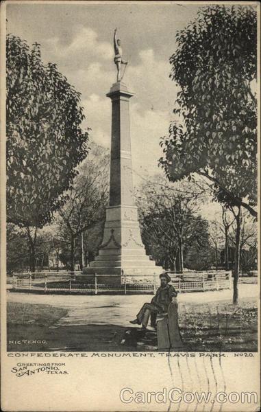 Confederate Monument Travis Park San Antonio TX Postcard