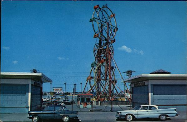 Amusement Park Double Ferris Wheel Revere Beach MA Postcard