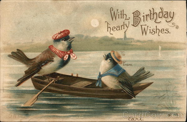 With Hearty Birthday Wishes Bird Couple In Rowboat Birds