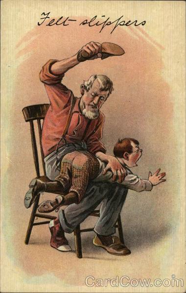 Felt Slippers Man Spanking A Boy With A Shoe Spanking