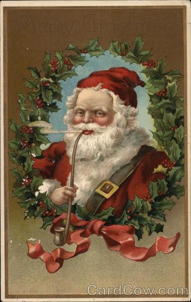 Santa Claus Smoking A Pipe Postcard