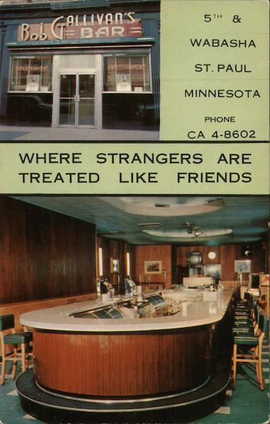 Bob Gallivans Bar St Paul MN Postcard