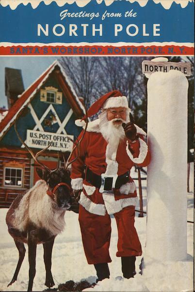 Santas Workshop North Pole NY Postcard