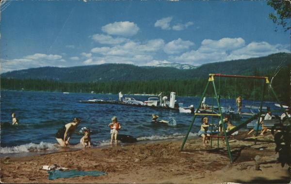 Shady Beach Cabins McCall ID Postcard