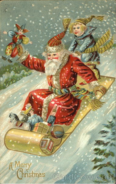 German Santa On Toboggan Santa Claus
