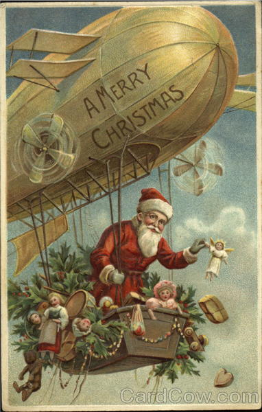 Santa In Zeppelin Dropping Toys Santa Claus