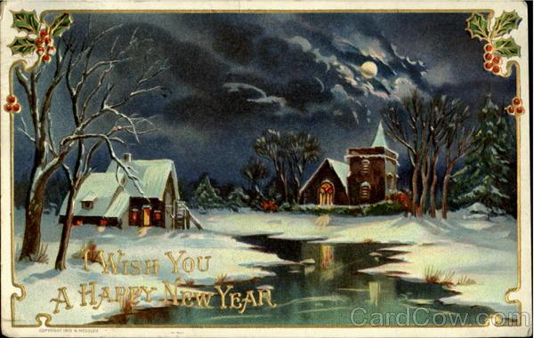 stare kartki noworoczne, wieczór