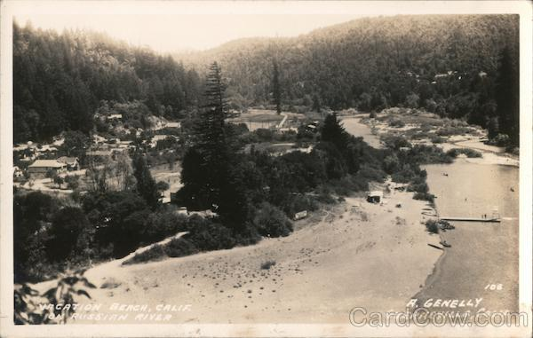 Vacation Beach On The Russian River California A Genelly Postcard