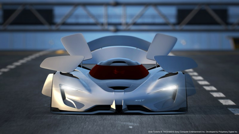 There are nine active aerodynamic panels, including an underbody splitter, that actively steer the SRT Tomahawk Vision Gran Turismo through the air and help the vehicle corner at extreme speeds.