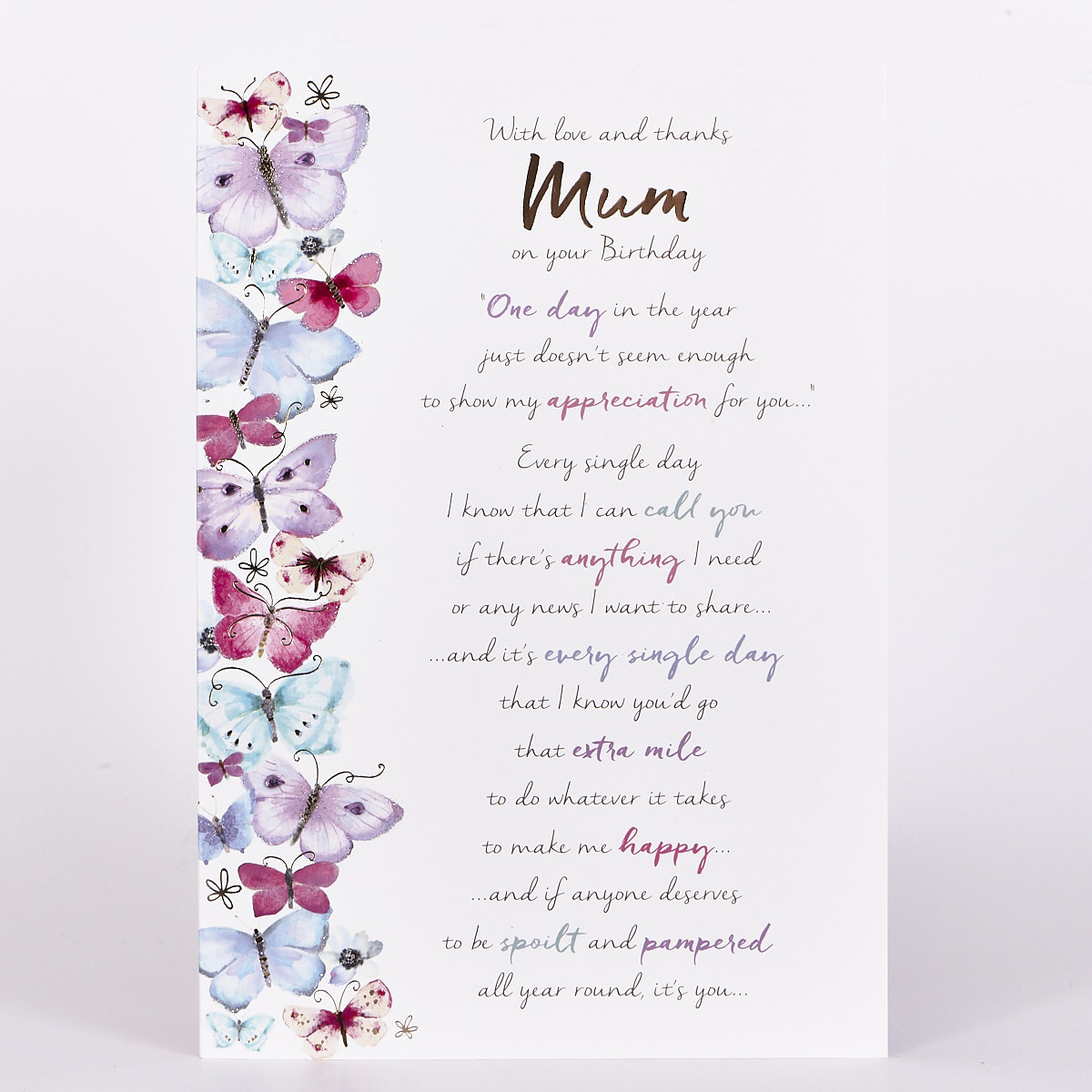 Buy Birthday Card Mum Watercolour Butterflies For Gbp 1 49 Card Factory Uk