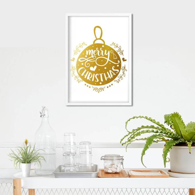 Merry Christmas Wall Art, Gold Foiled