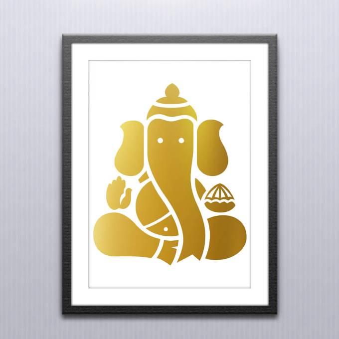 Ganesh Wall Art, Gold Foiled (GFW10)
