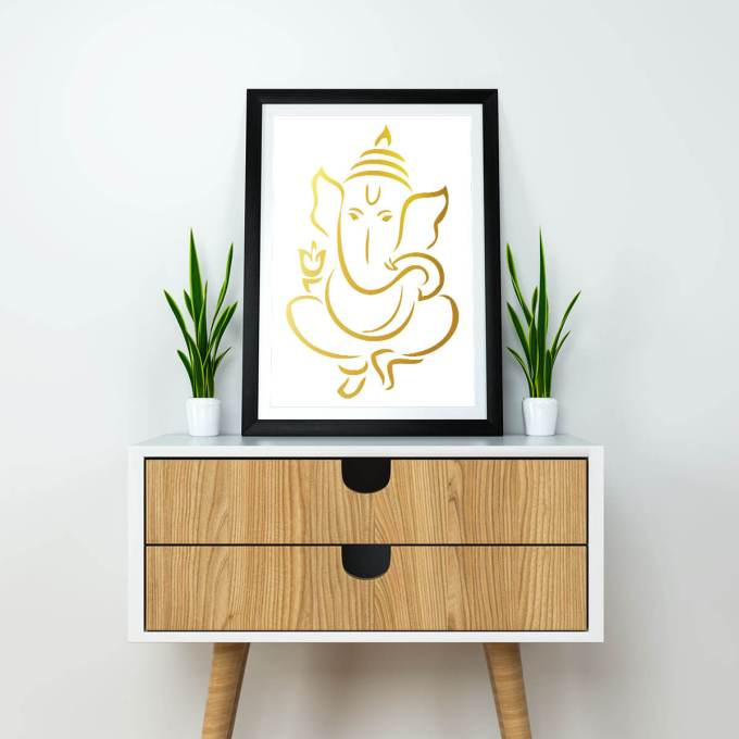 Ganesh Wall Art, Gold Foiled (GFW15)