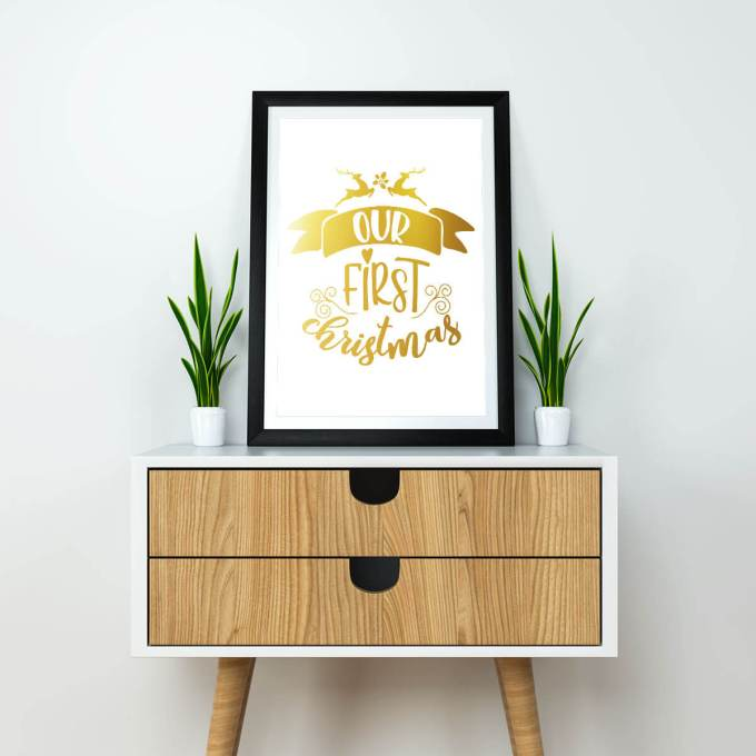Christmas Wall Art, 'Our First Christmas' Gold Foiled