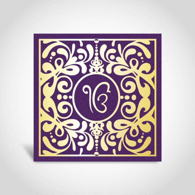 Purple and Gold Sikh Invitation Card – CFS81