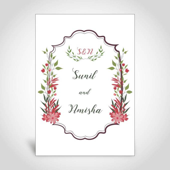 Sikh Floral Wedding Card – CFS137