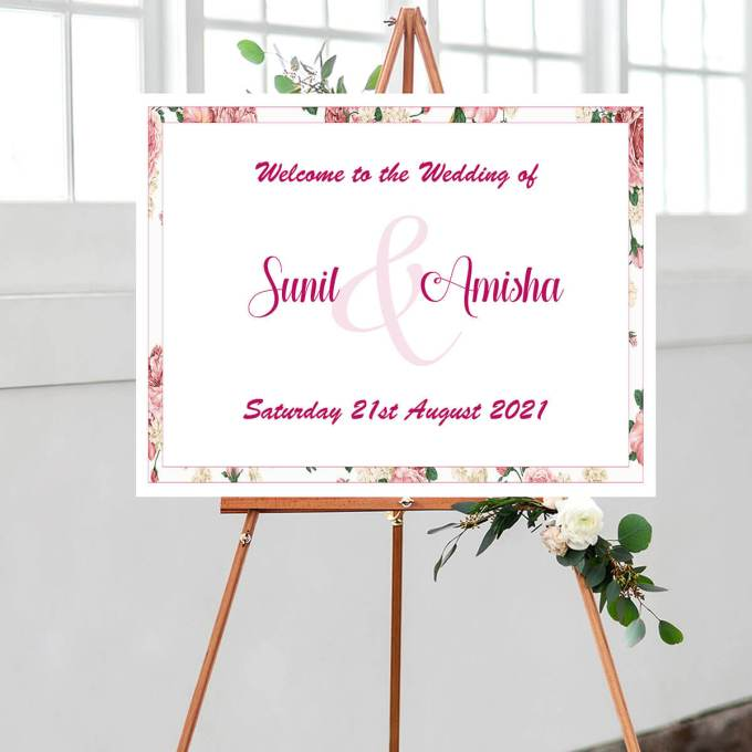 Floral Wedding Welcome Sign – 2