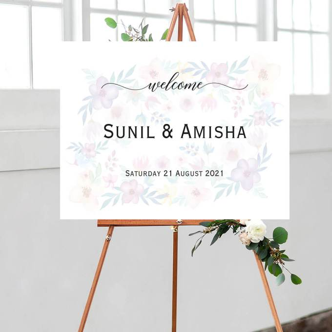 Floral Wedding Welcome Sign – 6