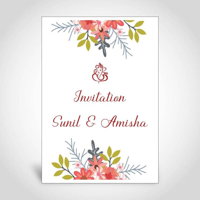 Floral Hindu Wedding Card – CFK171