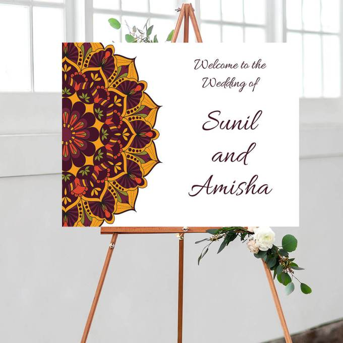 Mandala Wedding Welcome Sign – 1