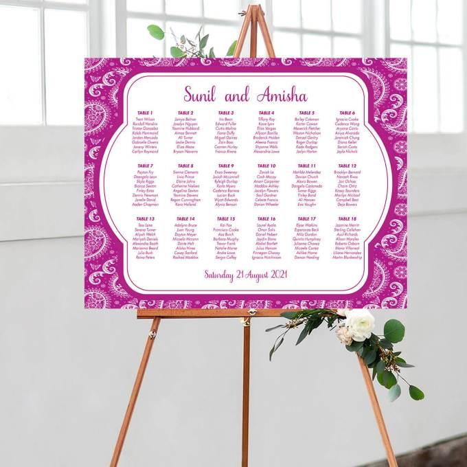Paisley Wedding Seating Chart, Purple – 1