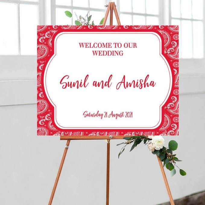 Paisley Wedding Welcome Sign, Red – 1
