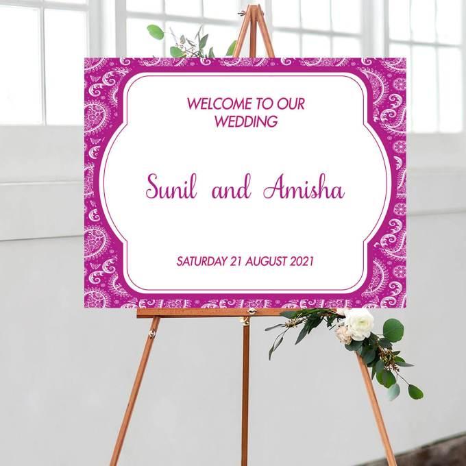 Paisley Wedding Welcome Sign, Purple – 1