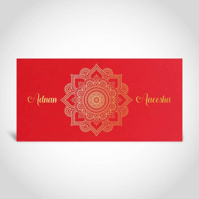 Red Muslim Wedding Card with Gold Foil – CFM42