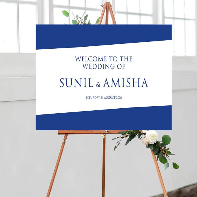 Blue minimalist Wedding Welcome Sign