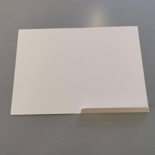 A5 portrait orientation invitation card - inside view with the flap folded