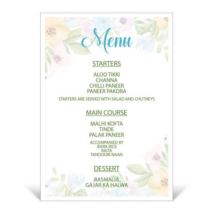 Floral Theme Table Menu – 3