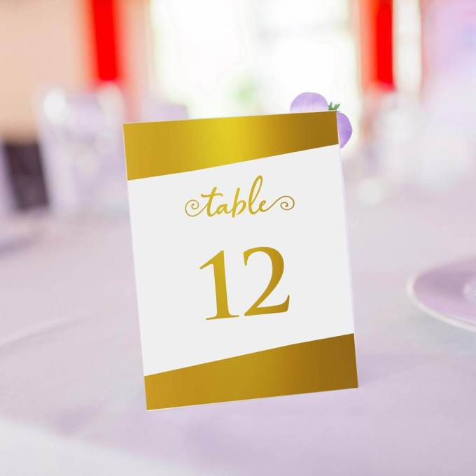 Wedding Table Numbers – Gold Foiled – 3