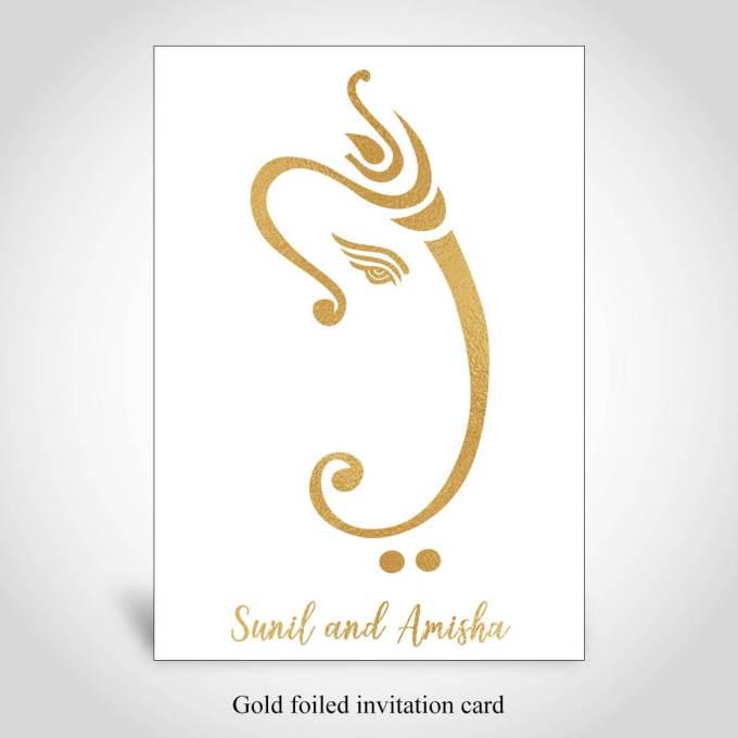 Gold Foiled Hindu Wedding Card – CFK103