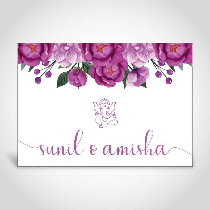 Ganesh Floral Indian Wedding Invite – CFK178