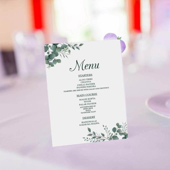 Eucalyptus Theme Wedding Menu Card – 6