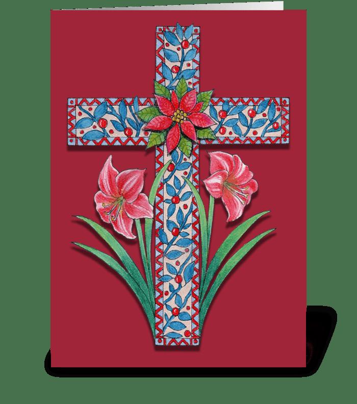 christmas cross with amaryllis