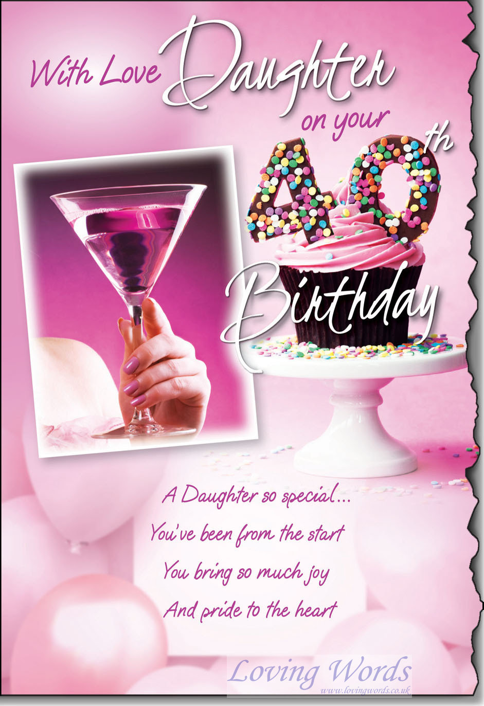 Daughter 40th Greeting Cards By Loving Words