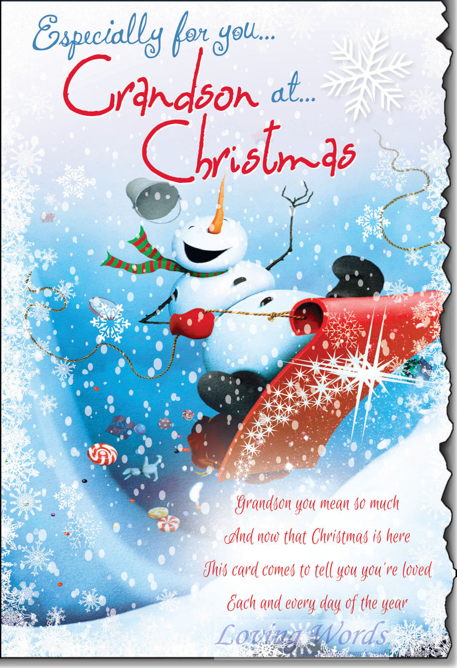 Especially For You Grandson At Christmas Greeting Cards
