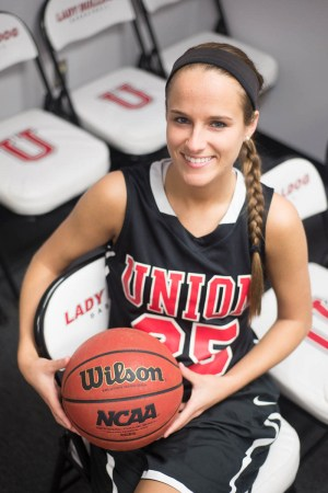 Amber Rechis, senior exercise science major, plays for Union's basketball team. | Photo by Victor Miller, staff photographer
