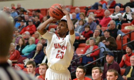 Senior guard Corieon Pearson shoots during a game earlier in the season. Submitted photo.