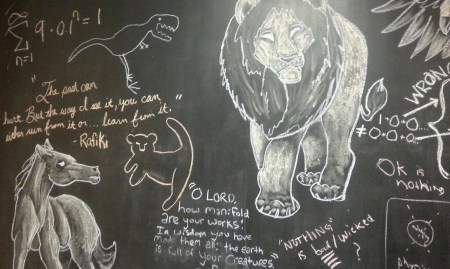 Chalk artwork decorates the walls of the honors lounge, where students gather every Monday for prayer.   Photo by Ali Rencken