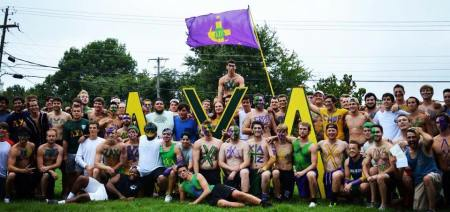 The members of Lambda Chi Alpha Fraternity celebrate bid day last September. | Submitted photo