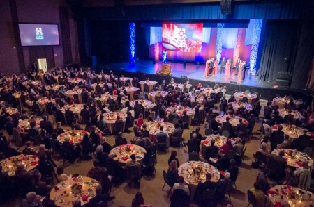 A sea of tables line the floor of the Carl Perkins Civic Center for the 18th annual Scholarship Banquet. | Photo by David Parks, staff photographer