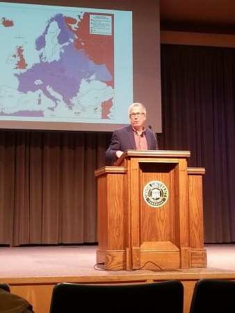 Dr. Robert Citino speaks on the importance of the German air force in World War II | Photo by Ali Renckens