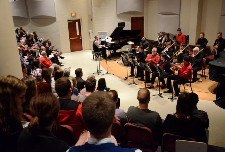 The jazz band performs in Hartley Hall. | Photo by MiKalla Cotton, staff photographer