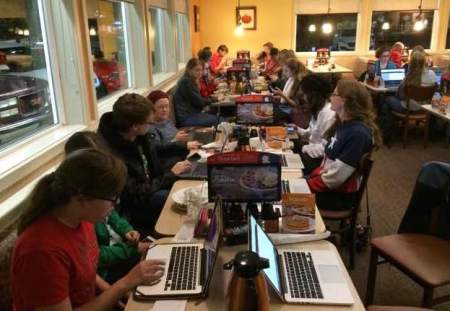 Dozens of students wait to register for classes at midnight at IHOP in Jackson. | Submitted Photo