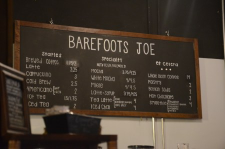 Barefoots has a standard menu but baristas are trained to make any drink that you like. |Photo by Gretchen Foels, staff photographer