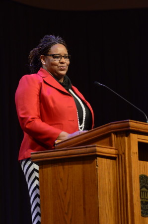 Lisa Peoples, Executive Director of Area Relief Ministries, spoke to students on Mark 12 in the G.M. Savage Memorial Chapel